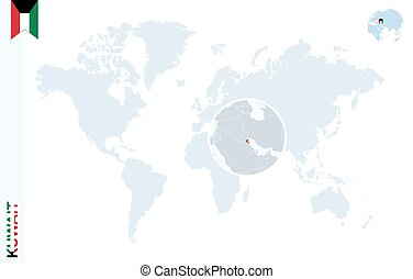 Blue world map with magnifying on Kuwait.