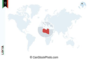 Libya on world map africa with highlighted libya map and vector blue world map with magnifying on libya gumiabroncs Images
