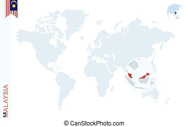 Blue world map with magnifying on Malaysia. - World map with...