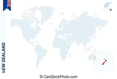 Blue world map with magnifying on New Zealand.