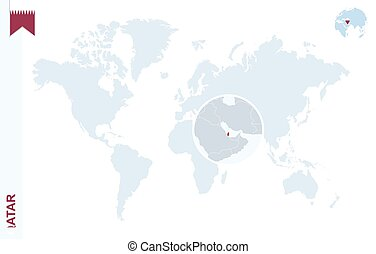 Blue world map with magnifying on Qatar.