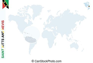Blue world map with magnifying on Saint Kitts and Nevis.