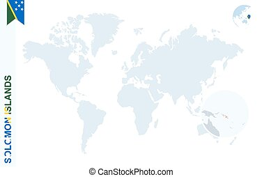 Blue world map with magnifying on Solomon Islands. - World...