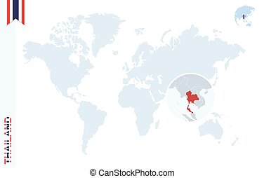 Thailand on world map. Map with highlighted thailand map and flag.