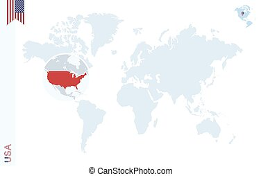Blue world map with magnifying on USA. - World map with...
