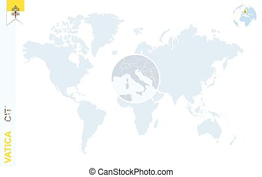 Vatican city flag globe crystal sphere of vatican city insignia blue world map with magnifying on vatican city gumiabroncs Gallery