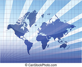 Blue world map with mesh and light
