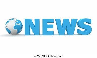 Blue World News Turning - turning blue 3D globe with blue...