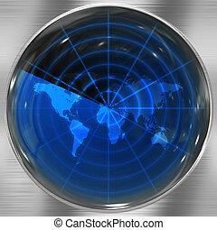 Blue World Radar - The world map in a radar screen - blips...