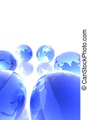 Blue worlds - 3d render of globes.