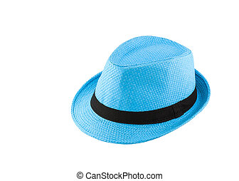 Blue woven hat isolated on white background