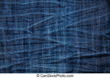 Blue wrinkled denim jeans texture, background