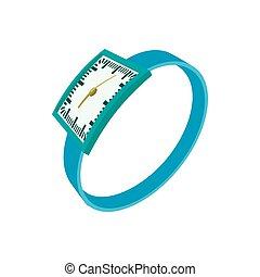 Blue wrist watch icon, cartoon style