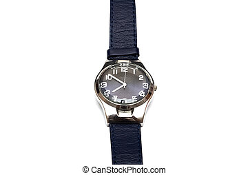 Blue wristwatch isolated on a white background