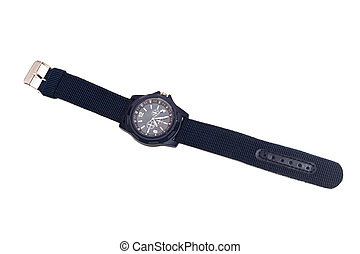 Blue wristwatch, isolated on a white background