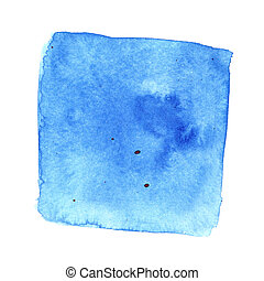 Blue wry watercolor square with stains. Abstract background....