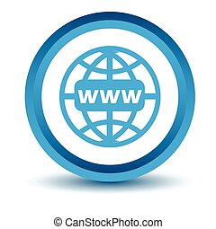 Blue Www icon on a white background. Vector illustration