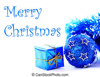 Blue xmas decoration and gift with copy space