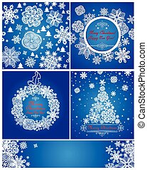 Blue xmas greeting cards with paper snowflakes