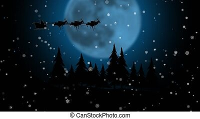 Blue xmas night with moon with Santa Claus sleight and reindeer . Silhouette