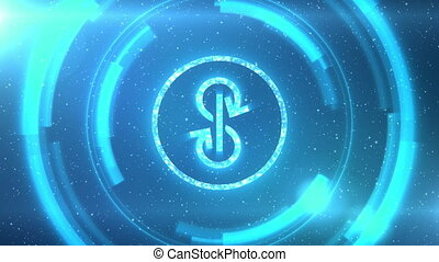 Blue Yearn Finance YFI token symbol centered on a starscape background with HUD elements. Seamlessly loopable animation.