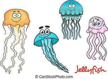 Blue, yellow and pink jellyfishes characters