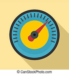 Blue yellow dashboard icon, flat style