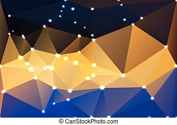 Blue yellow orange black geometric background with lights