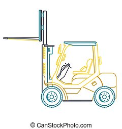 Blue yellow outline fork lift loader on white. Loading of goods. Construction machinery.