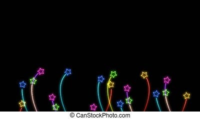 Blue yellow pink green color glow flowers stars grow and faded on the black screen