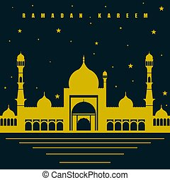 Blue Yellow Ramadan Kareem with mosque design