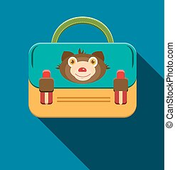 Blue, yellow schoolbag with bear
