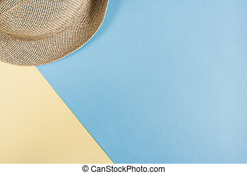 blue-yellow, sombrero de paja, copia, plano de fondo, space...