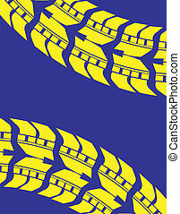 blue-yellow tire track background