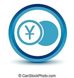 Blue yen coin icon