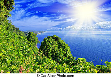 blue zöld, ég, tenger, sziget