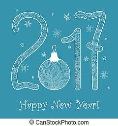 blue zen New year`s card 2017