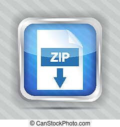 blue zip download icon