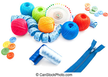 blue zipper and other items for needlework