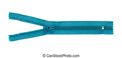 blue zipper isolated on white with clipping path