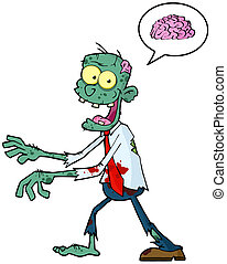 Blue Cartoon Zombie Walking With Hands In Front And Speech Bubble With Brain