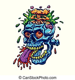 Blue zombie skull with head exploding