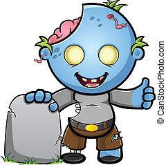 Blue Zombie -Thumbs Up & Gravestone