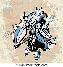 bluebell, flower., acuarela, fondo.