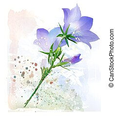 Bluebell. Imitation of watercolor painting.