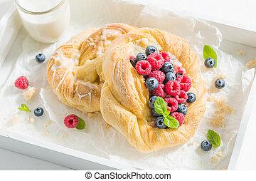 blueberries, 효모, 나무딸기, 맛좋은, 상쾌한, 케이크