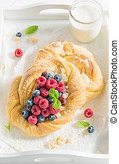 blueberries, 효모, 나무딸기, 맛좋은, 케이크, 우유