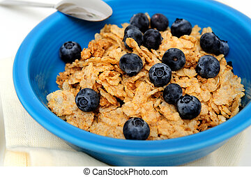 Blueberries And Cereal Closeup