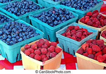 blueberries and raspberrries