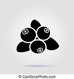 Blueberries black icon on gray background with soft shadow